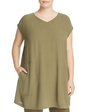 Eileen Fisher Plus Silk Cap Sleeve Tunic