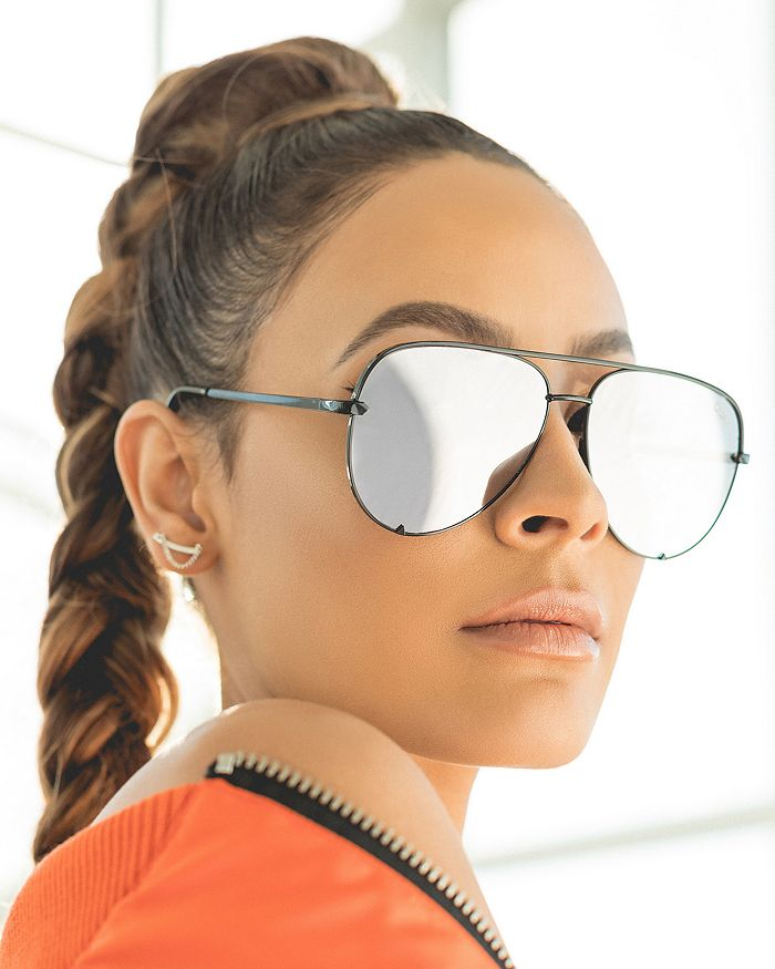 45d176b950 Quay Quay Women s High Key Mirrored Brow Bar Aviator Sunglasses ...