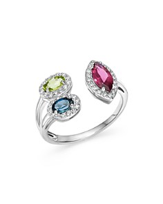 Bloomingdale's - Multi Gemstone and Diamond Open Ring in 14K White Gold - 100% Exclusive