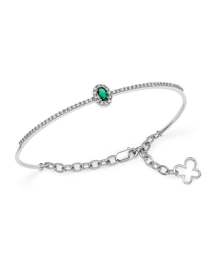 Bloomingdale's - Emerald and Diamond Bangle in 14K White Gold - 100% Exclusive
