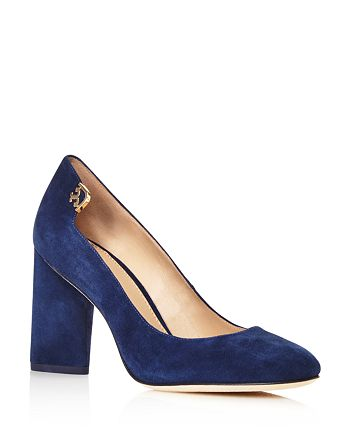 Tory Burch - Women's Elizabeth Suede High Block Heel Pumps