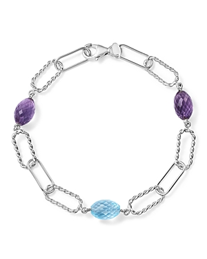 Amethyst and Blue Topaz Twisted Link Bracelet in Sterling Silver - 100% Exclusive