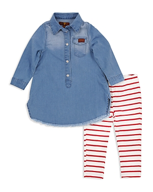 7 For All Mankind Girls Denim Dress  Striped Leggings Set  Little Kid