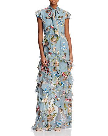 30f897bbbf8 Alice and Olivia Alice + Olivia Lessie Tie-Neck Ruffled Maxi Dress ...