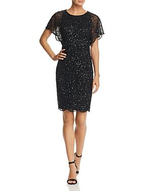 Adrianna Papell Beaded Flutter-Sleeve Dress