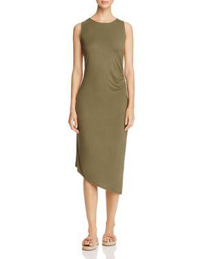 Calvin Klein Ruched Asymmetric Midi Dress