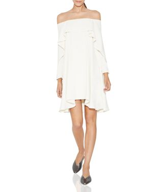 Halston Heritage Off-the-Shoulder Ruffled Dress