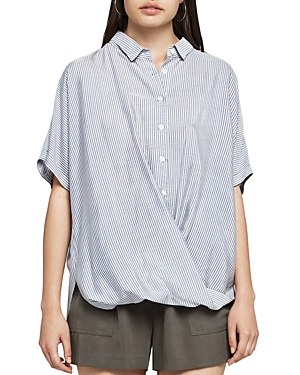 BCBGeneration Striped Button-Down Front-Tuck Shirt
