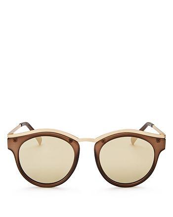 Le Specs - Women's Hypnotize Mirrored Round Sunglasses, 50mm
