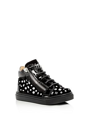 Giuseppe Zanotti Girls' Veronica Embellished Velvet High Top Sneakers - Walker, Toddler