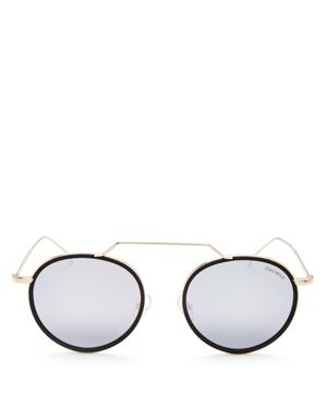 Illesteva Wynwood Ace Mirrored Brow Bar Round Sunglasses, 50mm