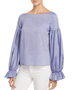 Milly Linda Shirred-Sleeve Top