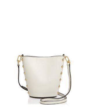 Flynn Pierce Stud Structured Leather Bucket Bag