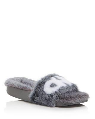 Salvatore Ferragamo Groove Mink Fur Pool Slide Sandals