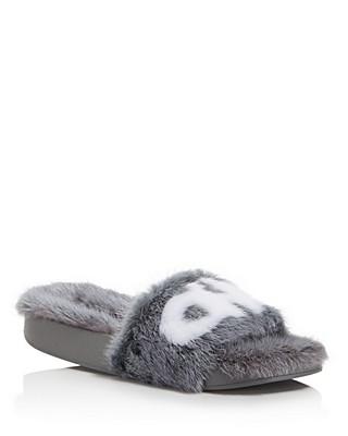 Salvatore Ferragamo Groove Mink Fur Pool Slide Sandals rosgbD3