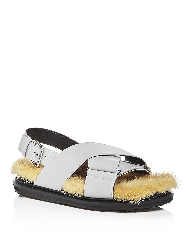 Marni Women's Fusbett Leather & Mink Sandals UvTpxOkYY