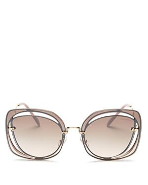 Miu Miu Scenique Evolution Mirrored Square Sunglasses, 64mm