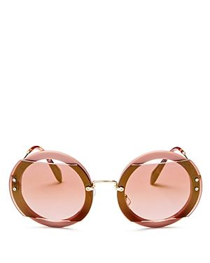Miu Miu Reveal Evolution Mirrored Oversized Round Sunglasses, 63mm