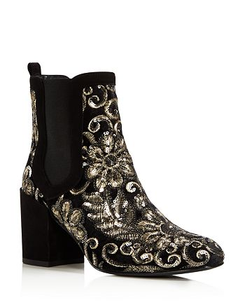 Stuart Weitzman - Women's Mediate Metallic Embroidered Velvet Block Heel Booties