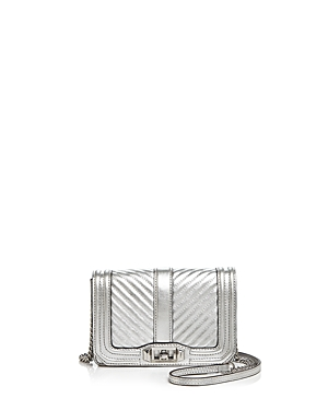Rebecca Minkoff Love Chevron Quilted Metallic Small Leather Crossbody