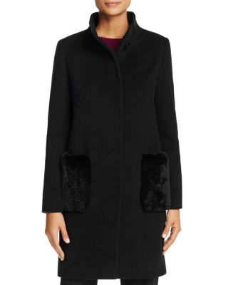 CINZIA ROCCA ICONS Wool Long Coat With Fur Pockets in Black