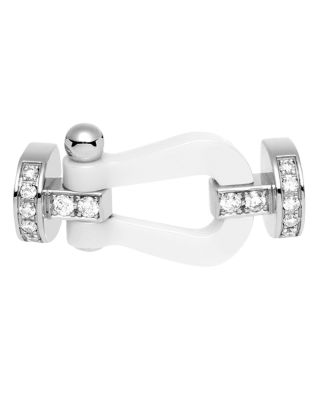Fred 18K WHITE GOLD AND CERAMIC FORCE 10 DIAMOND LARGE BUCKLE