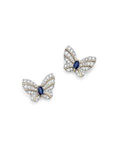 Bloomingdale's - Diamond and Blue Sapphire Butterfly Stud Earrings in 14K Yellow Gold - 100% Exclusive