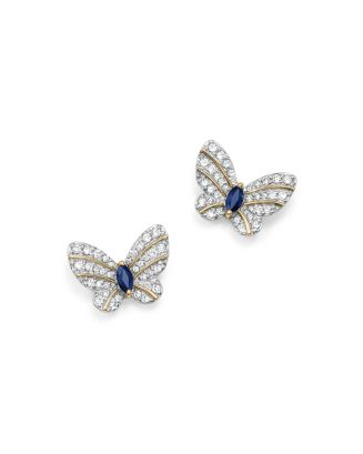 Diamond And Blue Sapphire Butterfly Stud Earrings In 14 K Yellow Gold   100 Percents Exclusive by Bloomingdale's