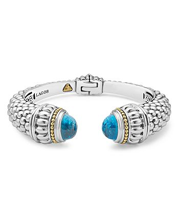 LAGOS - 18K Gold and Sterling Silver Caviar Color Swiss Blue Topaz Cuff, 14mm
