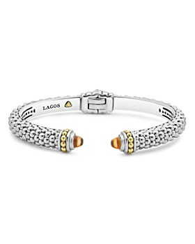 LAGOS - 18K Gold and Sterling Silver Caviar Color Citrine Cuff Bracelets