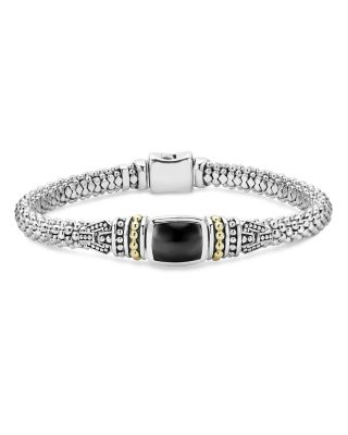 18K Gold And Sterling Silver Caviar Color Bracelet With Black Onyx, Black/Silver
