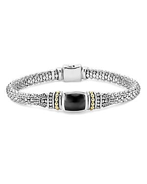 Lagos 18K Gold and Sterling Silver Caviar Color Bracelet with Black Onyx-Jewelry & Accessories