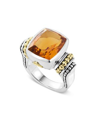 18K Gold And Sterling Silver Caviar Color Medium Citrine Ring, Orange/Silver