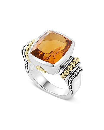 LAGOS - 18K Gold and Sterling Silver Caviar Color Medium Citrine Ring
