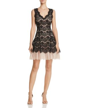 Avery G Tulle-Hem Lace Dress