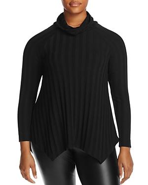 B Collection by Bobeau Curvy Libby Rib Stripe Turtleneck Sweater