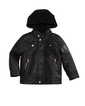 Urban Republic Boys Hooded FauxLeather Jacket  Little Kid