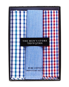 The Men's Store at Bloomingdale's - Assorted Cotton Pocket Square, Pack of 3 - 100% Exclusive