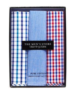 The Men's Store at Bloomingdale's Assorted Cotton Pocket Square, Pack of 3 - 100% Exclusive
