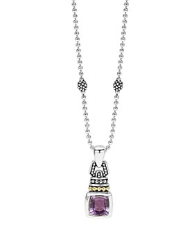 LAGOS - 18K Gold and Sterling Silver Caviar Color Necklace with Amethyst, 16""