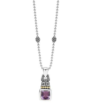 """LAGOS - 18K Gold and Sterling Silver Caviar Color Necklace with Amethyst, 16"""""""