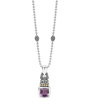 Lagos 18K Gold and Sterling Silver Caviar Color Necklace with Amethyst, 16-Jewelry & Accessories