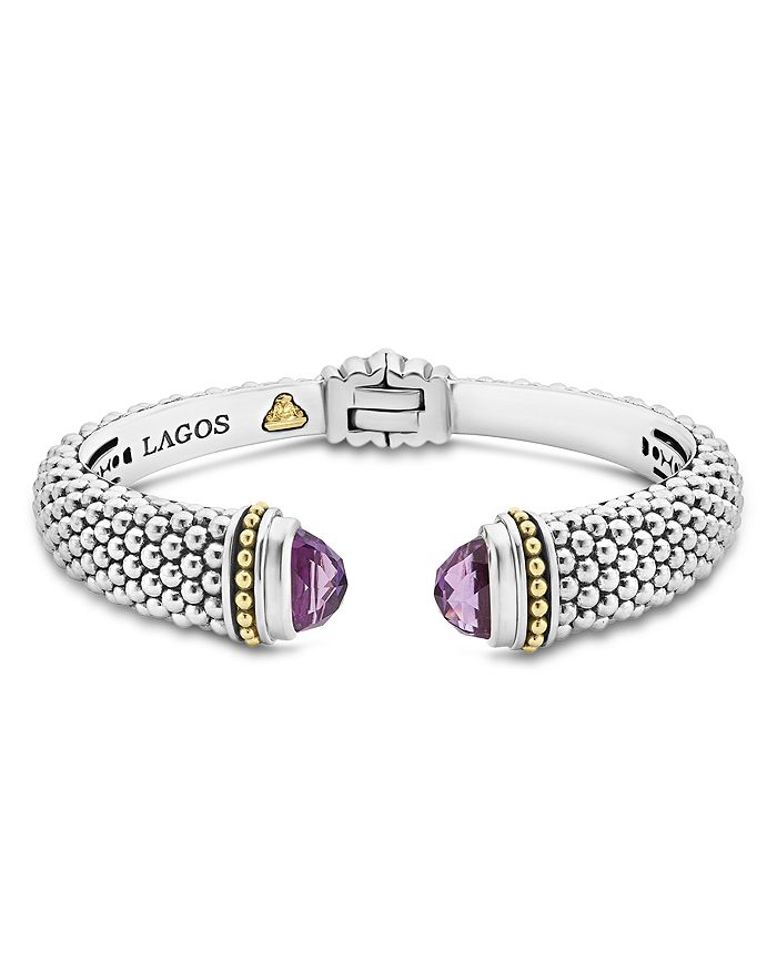 LAGOS - 18K Gold and Sterling Silver Caviar Color Amethyst Cuff Bracelets
