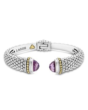 Lagos 18K Gold and Sterling Silver Caviar Color Amethyst Cuff, 12mm