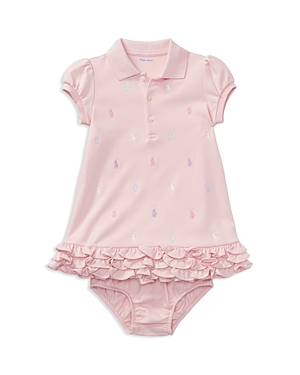 Ralph Lauren Childrenswear Girls Ruffled  Embroidered Polo Dress with Bloomers  Baby