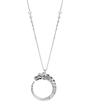 John Hardy Brushed Sterling Silver Naga Pendant Necklace with Black Sapphire, Black Spinel and Blue