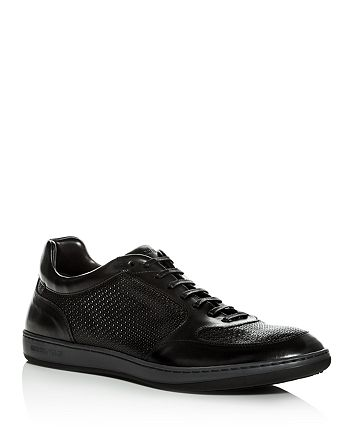 Armani - Men's Embossed Leather Lace Up Sneakers