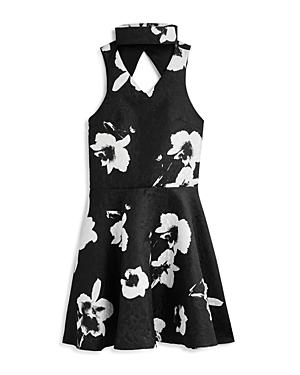 Miss Behave Girls' Floral Choker Jacquard Dress - Big Kid