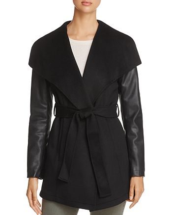 Laundry by Shelli Segal - Contrast Sleeve Wrap Coat