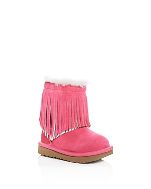 Ugg Girls' Classic Short Ii Fringe Suede & Shearling Boots - Walker, Toddler